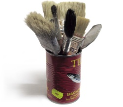Paintbrushes in a can
