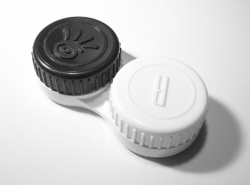 How can I reuse or recycle … contact lens containers?