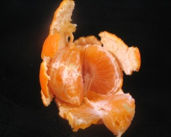 An orange, half peeled