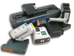 An assortment of printer cartridges
