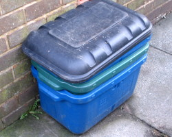 How can I reuse or recycle plastic recycling boxes?