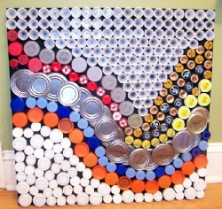 Recycling bottle tops caps and that sort of thing how - Recycled can art projects ...
