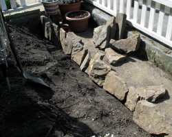 "How can I ""pave"" our garden using recycled things?"