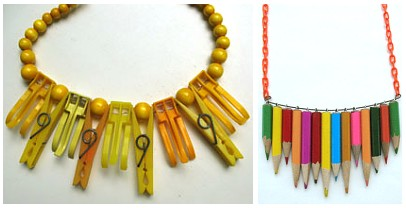 necklaces made from old junk