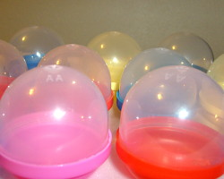 How can I reuse or recycle plastic toy holding eggs/balls/bubbles?