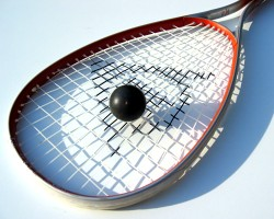 squash ball and racket