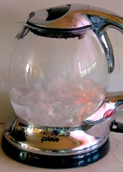 boiling water in a kettle