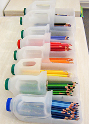 milk bottles to hold pencils